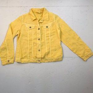 Chico's Bright Yellow Linen Jacket SZ 1